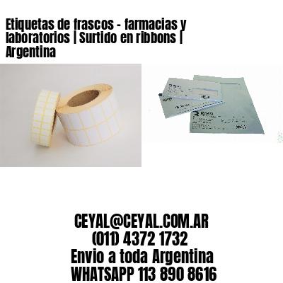 Etiquetas de frascos - farmacias y laboratorios | Surtido en ribbons | Argentina
